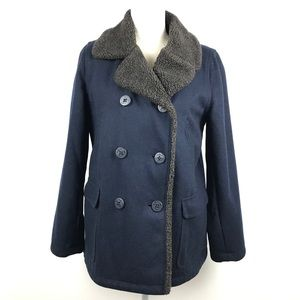 American Eagle Outfitters Wool Navy Sherpa Coat